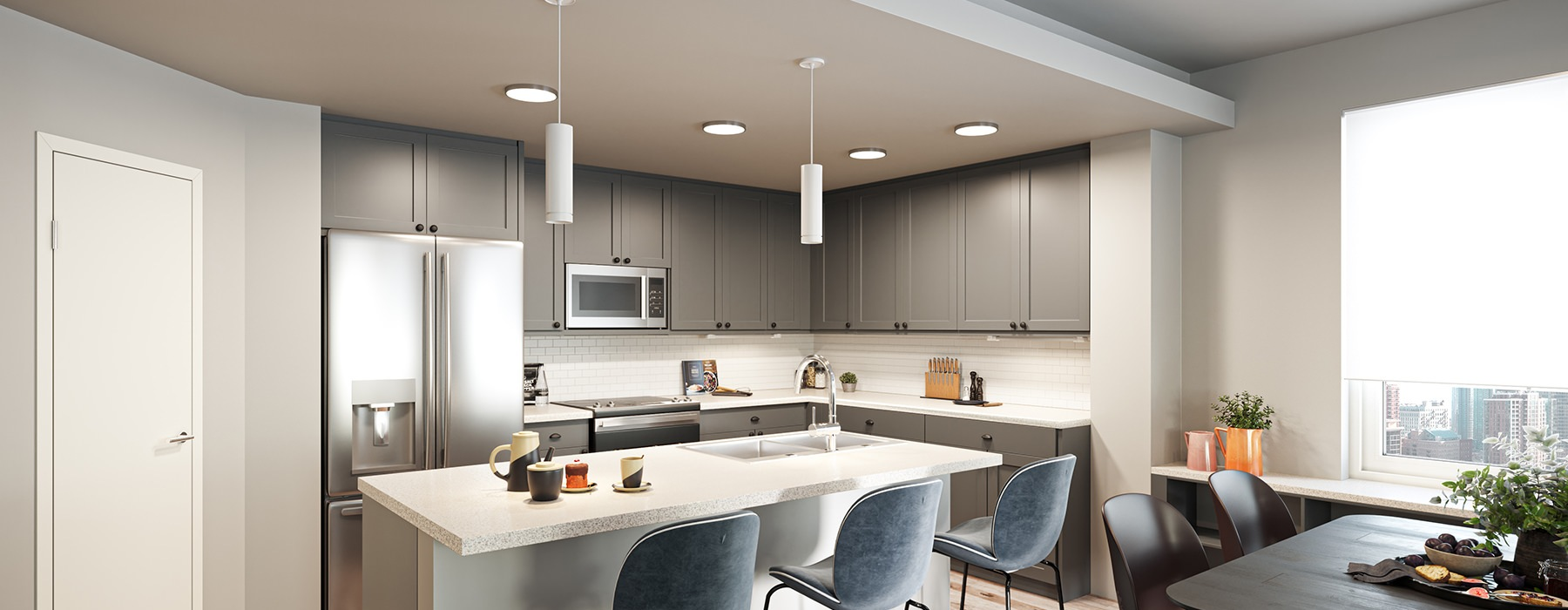 open kitchen with ample lighting